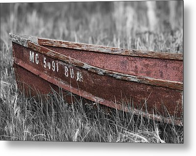 Old Boat Washed Ashore  Metal Print by Joe Gee