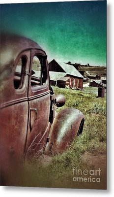 Old Car And Ghost Town Metal Print by Jill Battaglia
