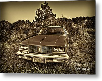 Old Car In Field Metal Print by Dan Friend