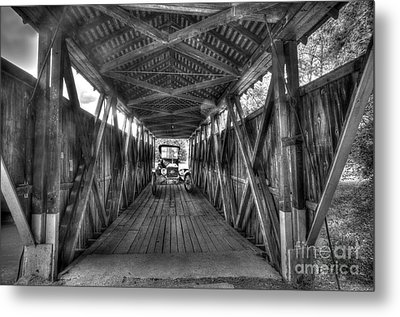 Old Car On Covered Bridge Metal Print by Dan Friend
