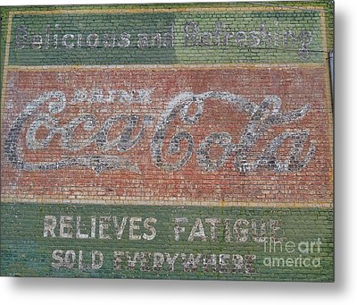 Metal Print featuring the photograph Old Coca Cola Painted Brick Wall by Doris Blessington