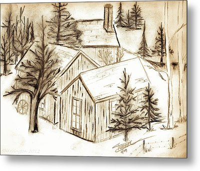 Metal Print featuring the drawing Old Colorado by Shannon Harrington