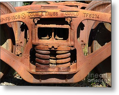 Old Double Truss Train Wheel . 7d12855 Metal Print by Wingsdomain Art and Photography