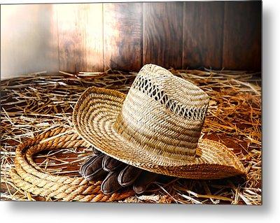 Old Farmer Hat In Hay Barn Metal Print by Olivier Le Queinec