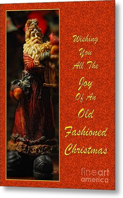 Old Fashioned Santa Christmas Card Metal Print by Lois Bryan