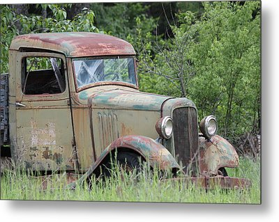 Abandoned Truck In Field Metal Print by Athena Mckinzie