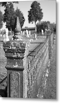 Old Graveyard Fence In Black And White Metal Print by Kathy Clark