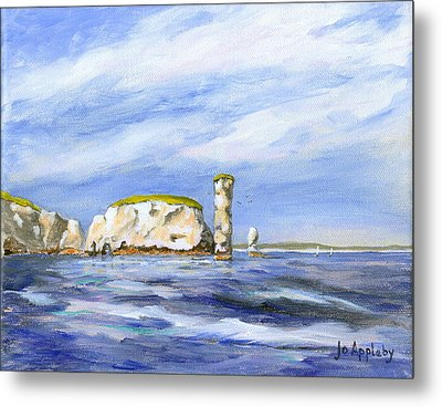 Metal Print featuring the painting Old Harry Rocks by Jo Appleby