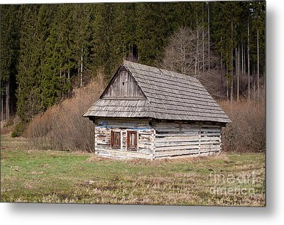 Metal Print featuring the photograph Old Log House by Les Palenik