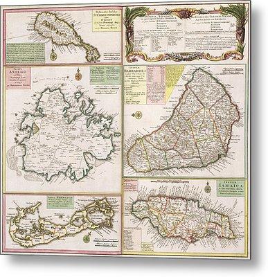 Old Map Of English Colonies In The Caribbean Metal Print by German School