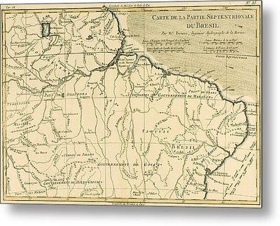 Old Map Of Northern Brazil Metal Print by Guillaume Raynal