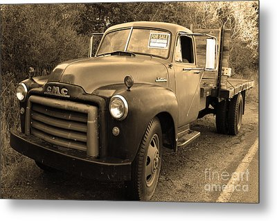Old Nostalgic American Gmc Flatbed Truck . 7d9821 . Sepia Metal Print by Wingsdomain Art and Photography