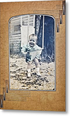 Old Photo Of A Baby Outside Metal Print by Susan Leggett