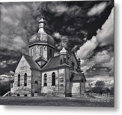 Old Prairie Church And Storm Front Metal Print by Royce Howland