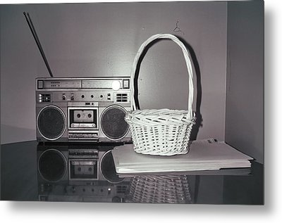 Old Radio And Easter Basket Metal Print by Floyd Smith