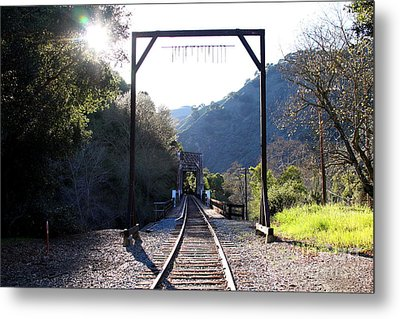 Old Railroad Bridge At Near Historic Niles District In California . 7d12747 Metal Print by Wingsdomain Art and Photography