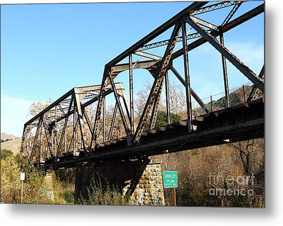 Old Railroad Bridge At Union City Limits Near Historic Niles District In California . 7d10736 Metal Print by Wingsdomain Art and Photography