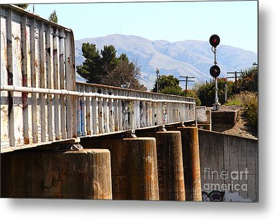 Old Railroad Bridge In Fremont California Near Historic Niles District In California . 7d12669 Metal Print by Wingsdomain Art and Photography