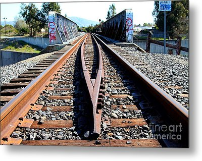 Old Railroad Bridge In Fremont California Near Historic Niles District In California . 7d12678 Metal Print by Wingsdomain Art and Photography