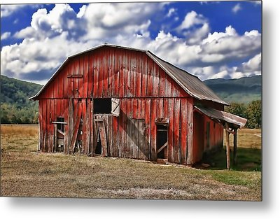 Metal Print featuring the photograph Old Red Barn by Renee Hardison