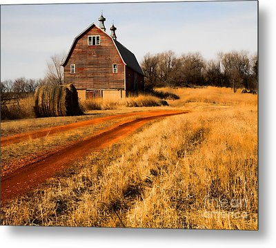 Old Red Road And Barn Metal Print by Edward R Wisell