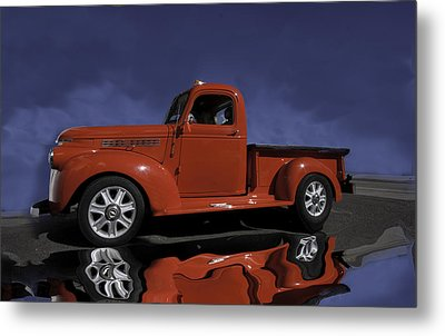Old Red Truck Metal Print by Judy Deist