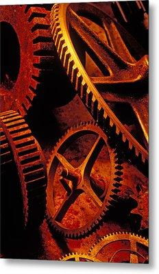 Old Rusty Gears Metal Print by Garry Gay