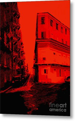 Old San Juan In Red And Black Metal Print by Ann Powell