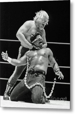 Old School Wrestling Chain Match Between Moondog Mayne And Don Muraco Metal Print by Jim Fitzpatrick