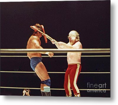 Old School Wrestling Chair Shot To The Head On Don Muraco By Moondog Mayne Metal Print by Jim Fitzpatrick