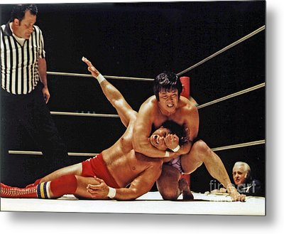Old School Wrestling Headlock By Dean Ho On Don Muraco Metal Print by Jim Fitzpatrick