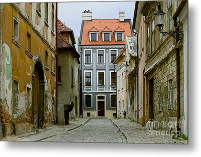 Metal Print featuring the photograph Old Street In Bratislava by Les Palenik