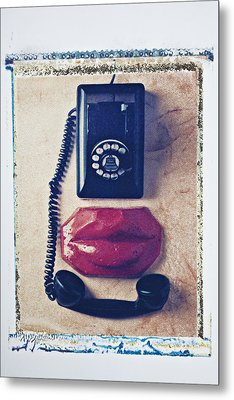 Old Telephone And Red Lips Metal Print by Garry Gay