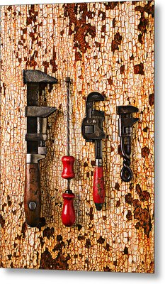 Old Tools On Rusty Counter  Metal Print by Garry Gay