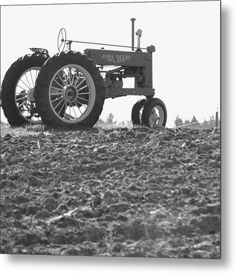 Old Tractor II In Black-and-white Metal Print