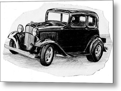 Old Vintage Funny Car Metal Print