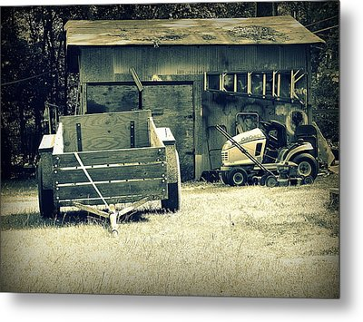 Metal Print featuring the photograph Old Wagon And Old Shed by Ester  Rogers