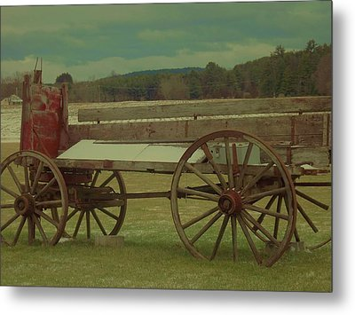 Old Wagon Fruit Stand Metal Print by Becca J