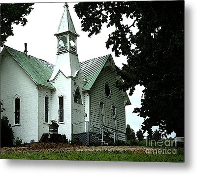 Metal Print featuring the digital art Old White Church Of Yamhill County by Glenna McRae