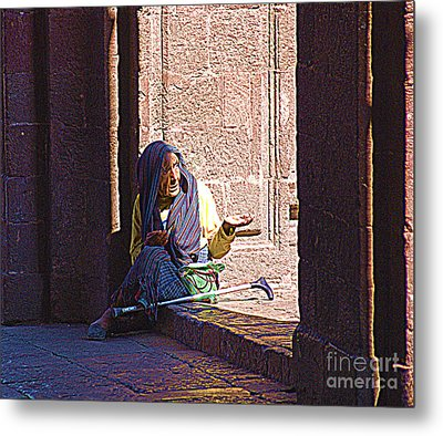 Metal Print featuring the digital art Old Woman In Centro by John  Kolenberg