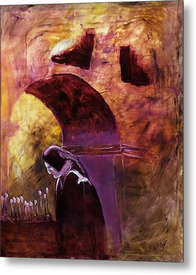 Metal Print featuring the painting Old Woman Lighting Candles In Cathedral In Purple And Yellow  by MendyZ M Zimmerman