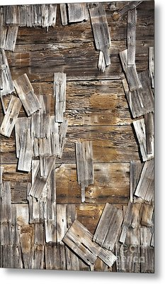 Old Wood Shingles On Building, Mendocino, California, Ca Metal Print by Paul Edmondson