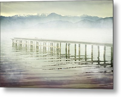 Old Wooden Bridge Into A Mountain Lake On A Foggy Morning Metal Print