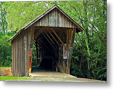 Old Wooden Covered Bridge Metal Print by Susan Leggett
