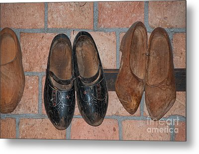 Metal Print featuring the digital art Old Wooden Shoes by Carol Ailles
