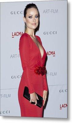Olivia Wilde Wearing A Gucci Dress Metal Print by Everett
