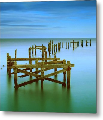 Ols Swanage Pier Metal Print by Mark Leader