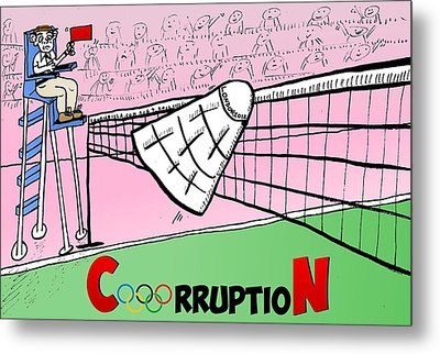 Olympic Corruption Cartoon Metal Print by Yasha Harari