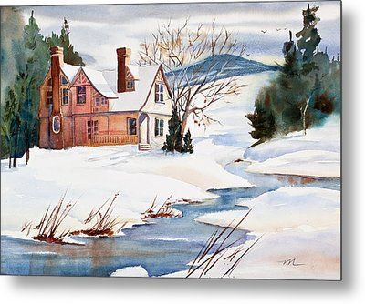 On A Winters Day Watercolor Painting Metal Print by Michelle Wiarda