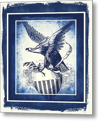 On Eagles Wings Blue Metal Print by Angelina Vick